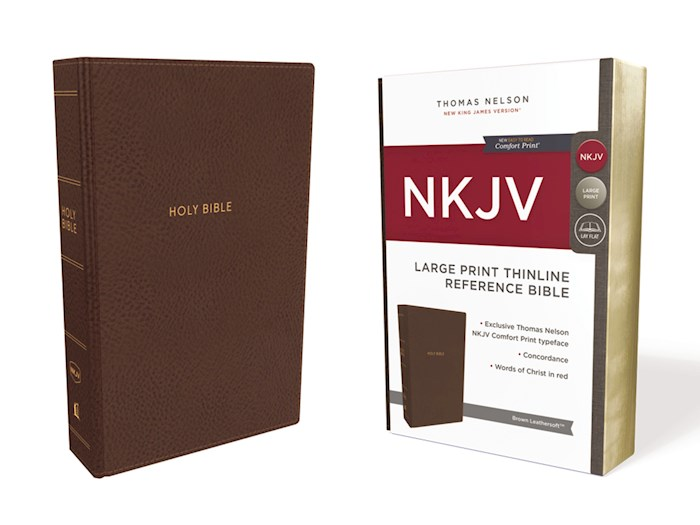 NKJV Thinline Reference Bible/Large Print (Comfort Print)-Brown Leathersoft  (Not Available-Out Of Print)  | SHOPtheWORD