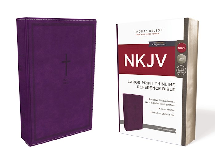 NKJV Large Print Thinline Reference Bible (Comfort Print)-Purple Leathersoft  | SHOPtheWORD