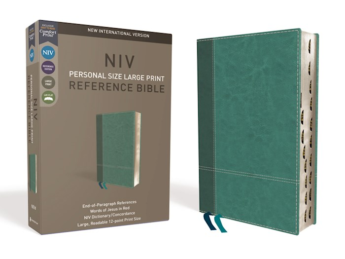 NIV Personal Size Large Print Reference Bible (Comfort Print)-Turquoise LeatherSoft Indexed | SHOPtheWORD