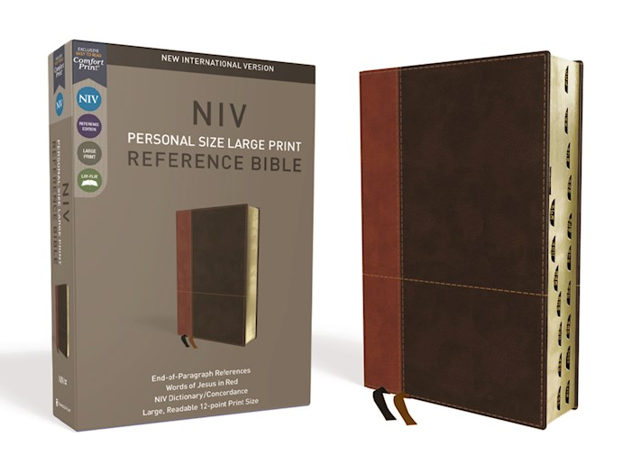 NIV Personal Size Large Print Reference Bible (Comfort Print)-Tan/Brown LeatherSoft Indexed   SHOPtheWORD