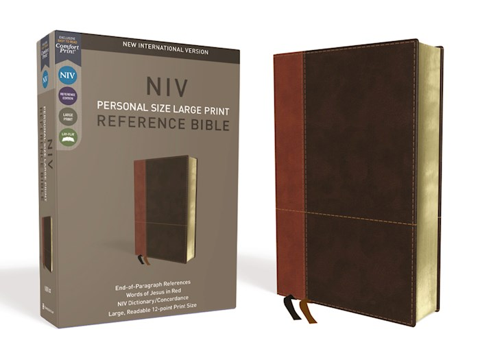 NIV Personal Size Large Print Reference Bible (Comfort Print)-Tan/Brown LeatherSoft  | SHOPtheWORD