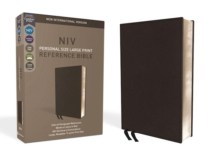 NIV Personal Size Large Print Reference Bible (Comfort Print)-Black Premium Leather | SHOPtheWORD