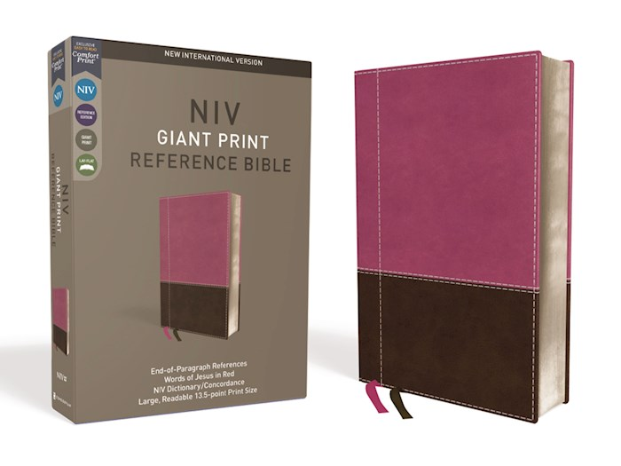 NIV Giant Print Reference Bible (Comfort Print)-Pink/Brown LeatherSoft Indexed | SHOPtheWORD