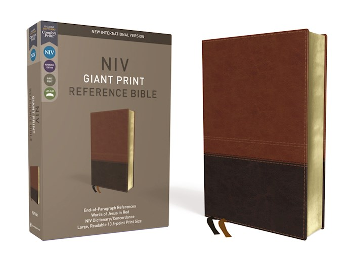 NIV Giant Print Reference Bible (Comfort Print)-Brown LeatherSoft | SHOPtheWORD