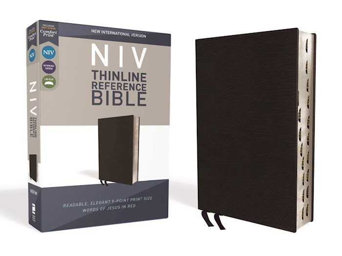 NIV Thinline Reference Bible (Comfort Print)-Black Bonded Leather Indexed | SHOPtheWORD