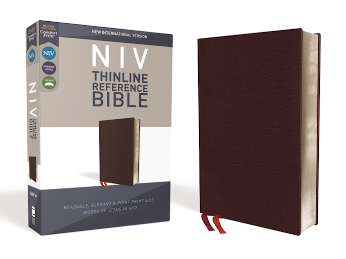 NIV Thinline Reference Bible (Comfort Print)-Burgundy Bonded Leather | SHOPtheWORD