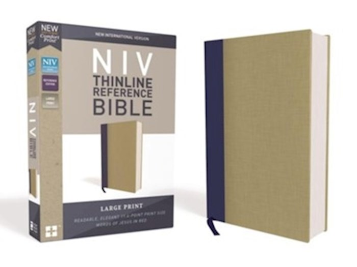 NIV Thinline Reference Bible/Large Print (Comfort Print)-Blue/Tan Cloth Over Board | SHOPtheWORD