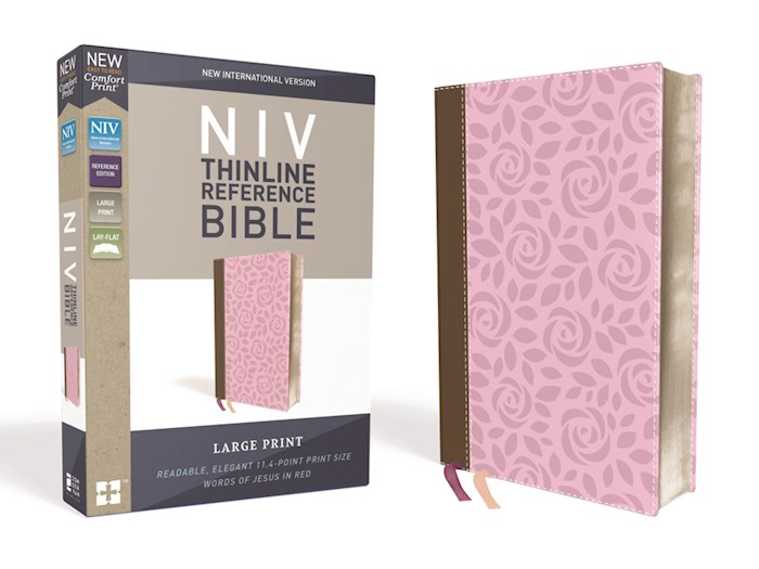 NIV Thinline Reference Bible/Large Print (Comfort Print)-Pink/Brown LeatherSoft | SHOPtheWORD