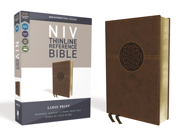 NIV Thinline Reference Bible/Large Print (Comfort Print)-Brown LeatherSoft | SHOPtheWORD