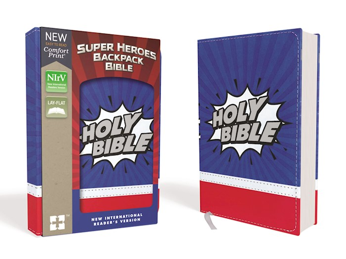NIrV Super Heroes Backpack Bible (Comfort Print)-Blue/Red Leathersoft | SHOPtheWORD