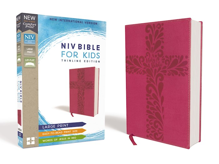 NIV Bible For Kids (Comfort Print)/Large Print-Pink Leathersoft | SHOPtheWORD
