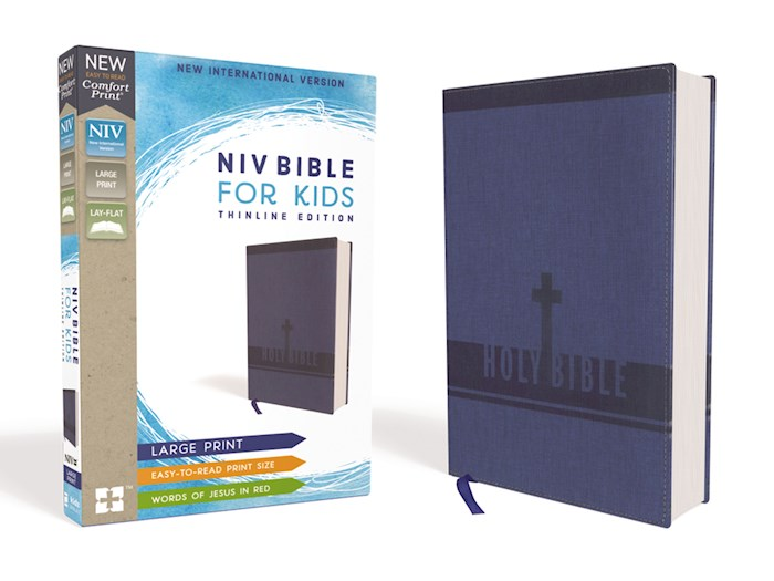NIV Bible For Kids (Comfort Print)/Large Print-Blue Leathersoft | SHOPtheWORD