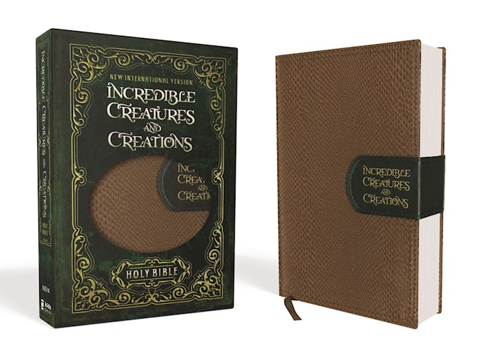 NIV Incredible Creatures And Creations Holy Bible-Tan/Green LeatherSoft | SHOPtheWORD