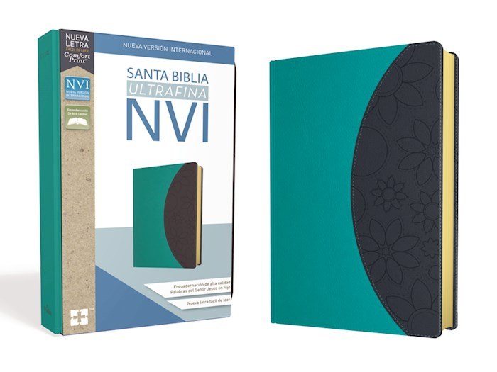 Span-NIV Ultrathin Bible (Comfort Print)-Teal/Gray Leathersoft  | SHOPtheWORD