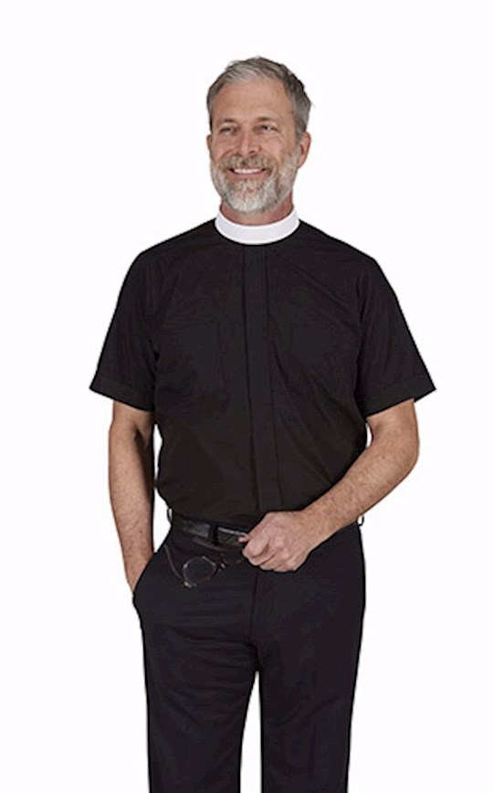 Clergy Shirt-Short Sleeve-Neckband-Black (18) | SHOPtheWORD
