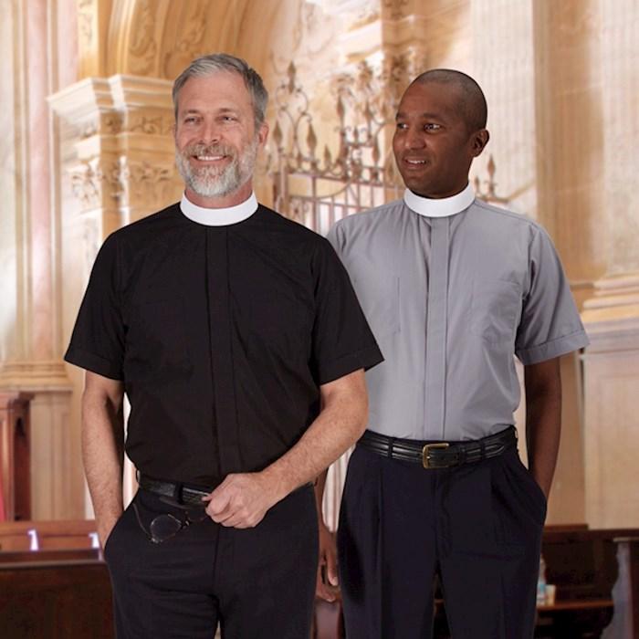 Clergy Shirt-Short Sleeve-Neckband-Gray (18) | SHOPtheWORD