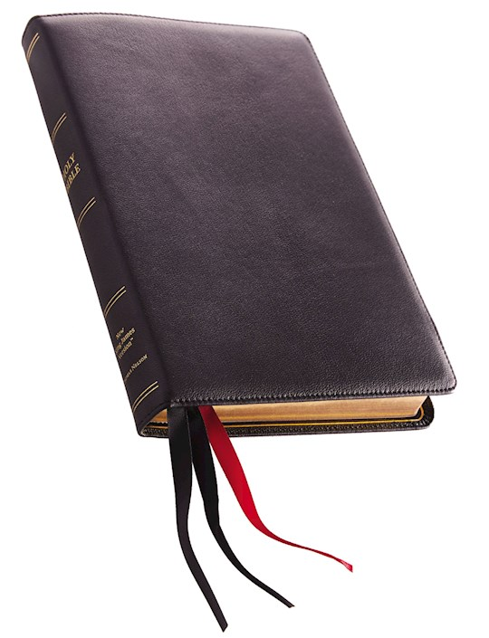 NKJV Thinline Reference Bible/Large Print (Comfort Print)-Black Premium Leather  | SHOPtheWORD