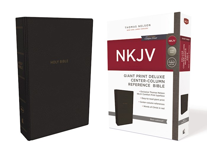 NKJV Giant Print Deluxe Center-Column Reference Bible (Comfort Print)-Black Leathersoft  | SHOPtheWORD