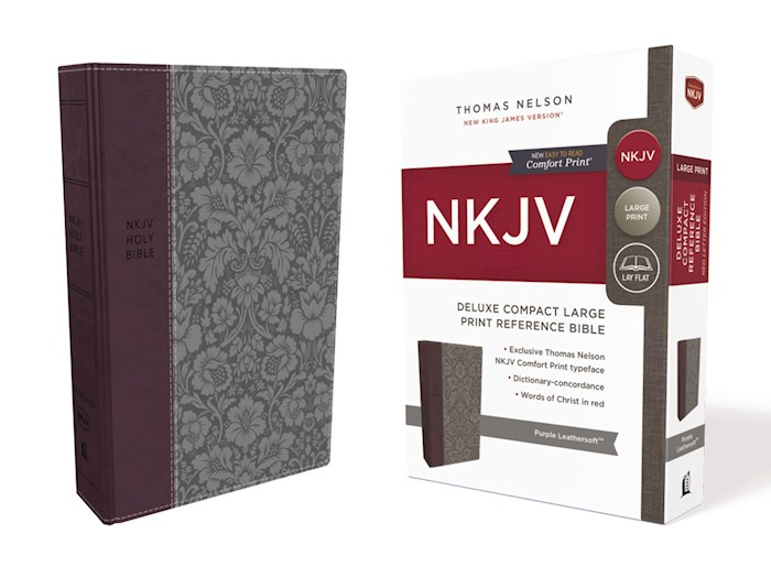 NKJV Deluxe Compact Large Print Reference Bible (Comfort Print)-Purple Leathersoft | SHOPtheWORD