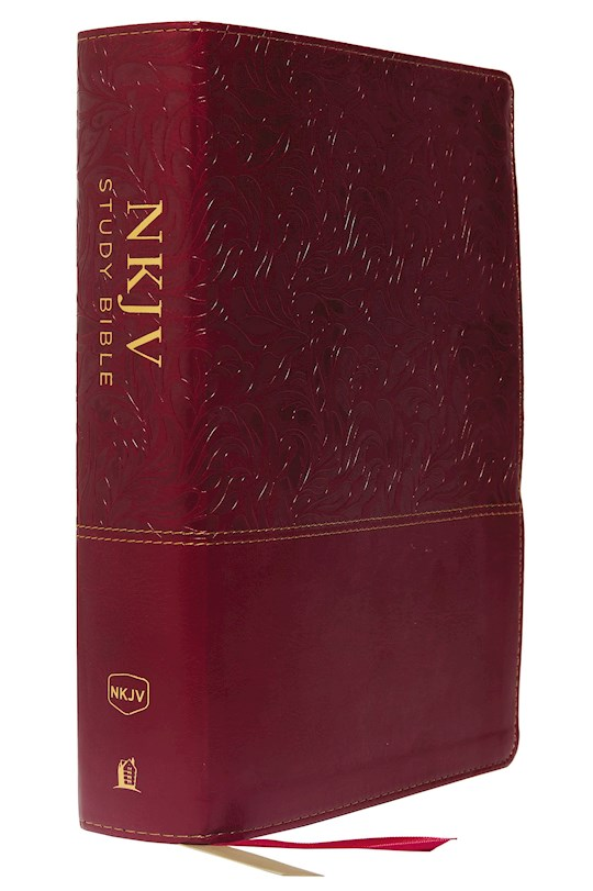 NKJV Study Bible (Full-Color) (Comfort Print)-Cranberry Leathersoft Indexed | SHOPtheWORD
