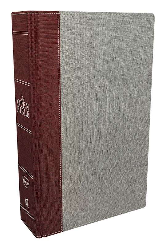 NKJV Open Bible (Comfort Print)-Gray/Red Cloth Over Board   SHOPtheWORD