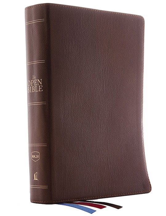 NKJV Open Bible (Comfort Print)-Brown Genuine Leather | SHOPtheWORD