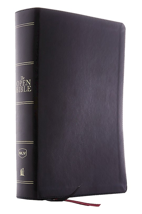 NKJV Open Bible (Comfort Print)-Black Leathersoft Indexed   SHOPtheWORD