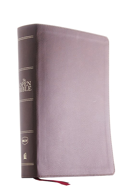 NKJV Open Bible (Comfort Print)-Brown Leathersoft | SHOPtheWORD