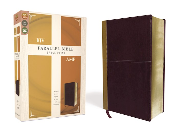 KJV/Amplified Parallel Bible/Large Print-Camel/Burgundy Leathersoft  | SHOPtheWORD