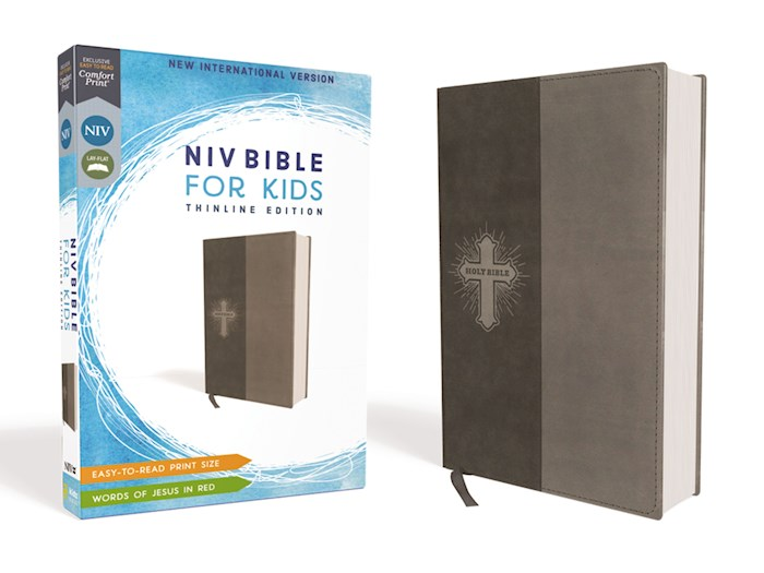 NIV Thinline Bible For Kids (Comfort Print)-Gray Leathersoft | SHOPtheWORD