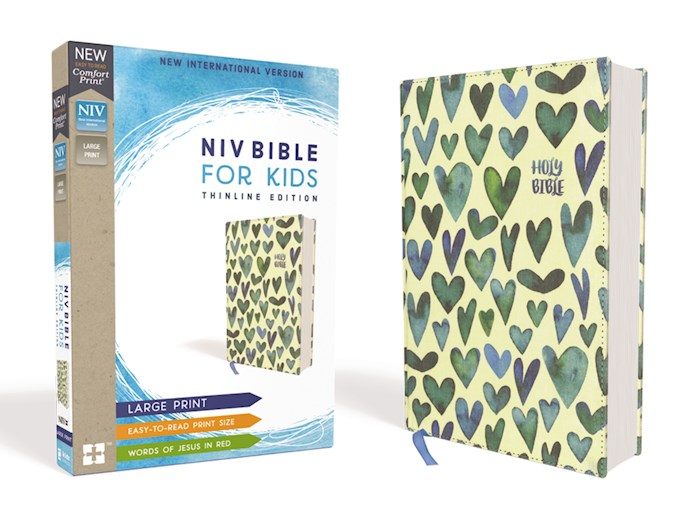 NIV Thinline Bible For Kids/Large Print (Comfort Print)-Turquoise Hearts Cloth Over Board | SHOPtheWORD