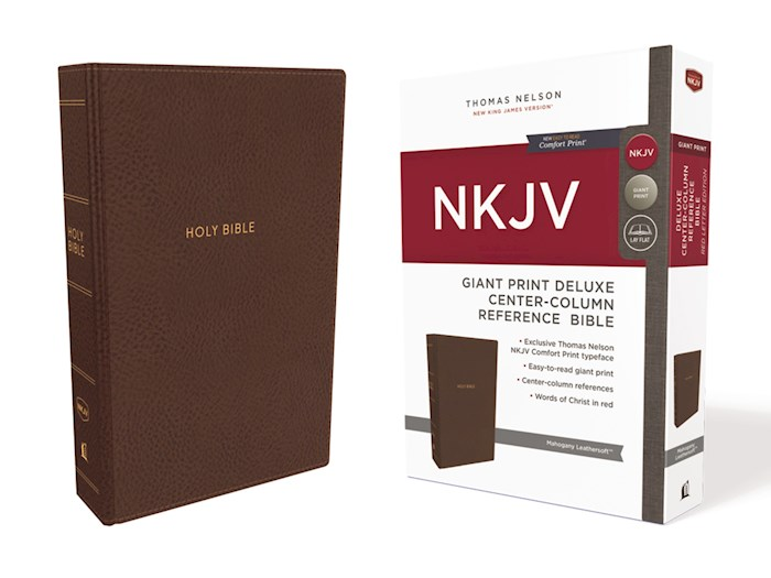 NKJV Giant Print Deluxe Center-Column Reference Bible (Comfort Print)-Mahogany Leathersoft | SHOPtheWORD