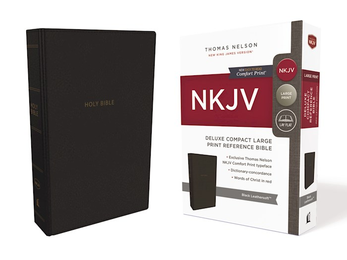 NKJV Deluxe Compact Large Print Reference Bible (Comfort Print)-Black Leathersoft | SHOPtheWORD