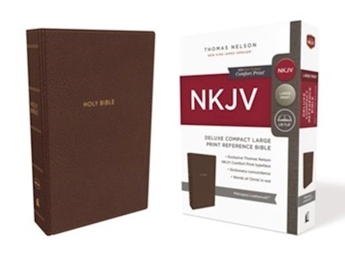 NKJV Deluxe Compact Large Print Reference Bible (Comfort Print)-Mahogany Leathersoft | SHOPtheWORD