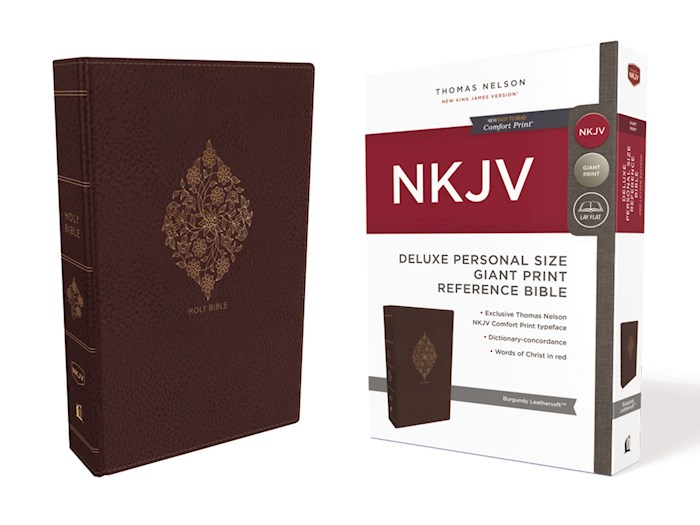 NKJV Deluxe Personal Size Giant Print Reference Bible (Comfort Print)-Burgundy Leathersoft Indexed | SHOPtheWORD