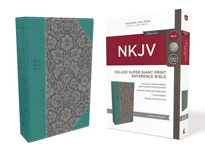 NKJV Deluxe Super Giant Print Reference Bible (Comfort Print)-Turquoise Leathersoft | SHOPtheWORD