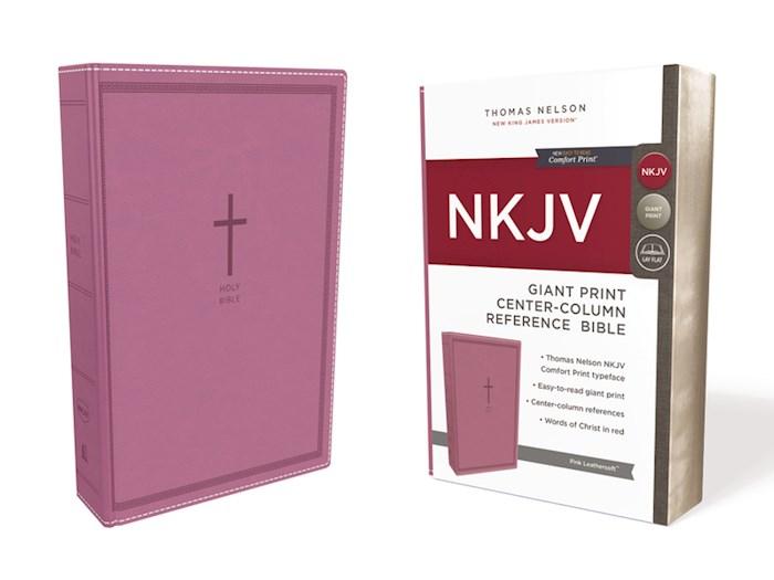 NKJV Giant Print Center-Column Reference Bible (Comfort Print)-Pink Leathersoft | SHOPtheWORD