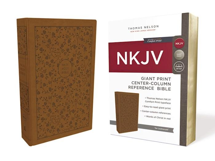 NKJV Giant Print Center-Column Reference Bible (Comfort Print)-Tan Leathersoft | SHOPtheWORD
