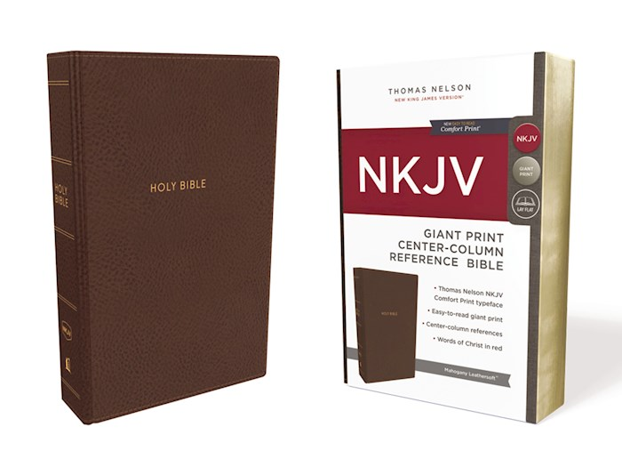 NKJV Giant Print Center-Column Reference Bible (Comfort Print)-Mahogany Leathersoft  | SHOPtheWORD