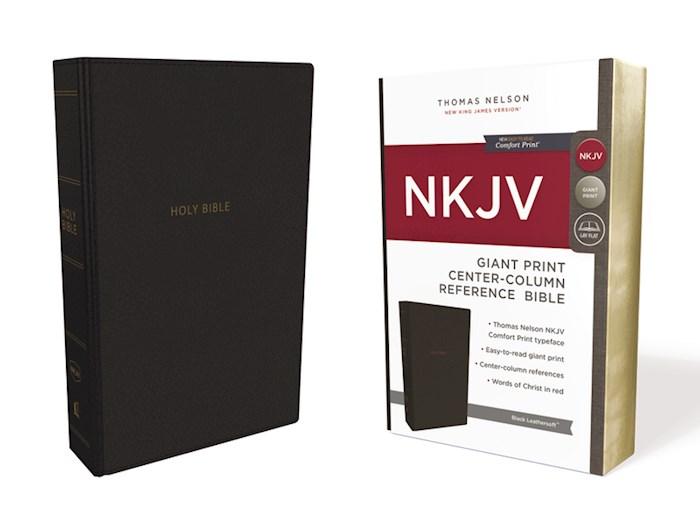 NKJV Giant Print Center-Column Reference Bible (Comfort Print)-Black Leathersoft | SHOPtheWORD