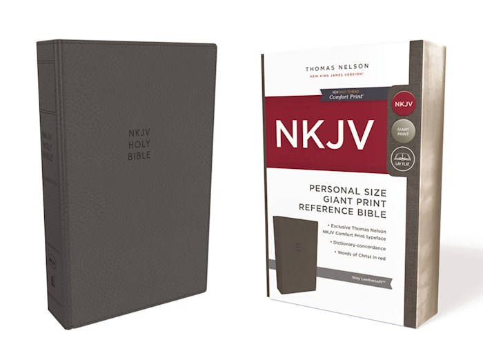 NKJV Personal Size Giant Print Reference Bible (Comfort Print)-Gray Leathersoft | SHOPtheWORD