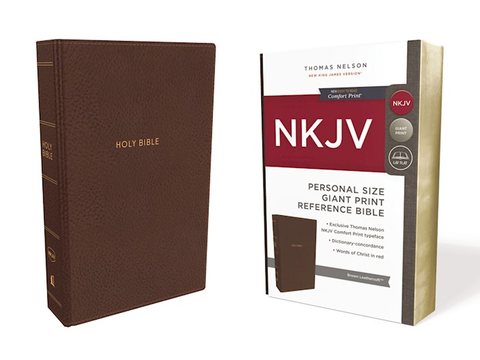 NKJV Personal Size Giant Print Reference Bible (Comfort Print)-Brown Leathersoft | SHOPtheWORD