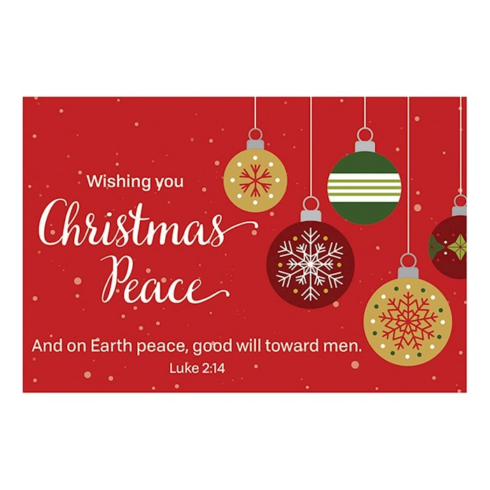 """Cards-Pass It On-Wishing You Christmas Peace (Ornaments) (3"""" x 2"""") (Pack Of 25) 