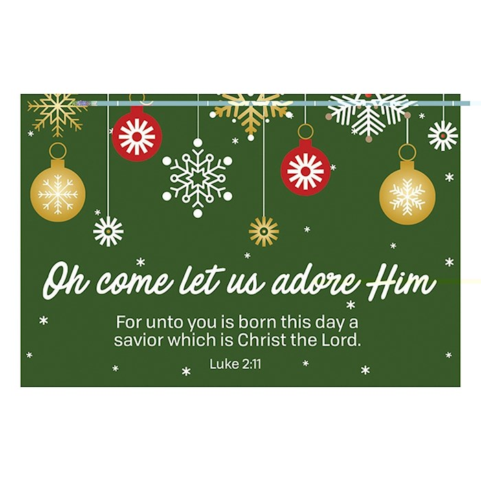 "Cards-Pass It On-Oh Come Let Us Adore Him (Ornaments) (3"" x 2"") (Pack Of 25) 