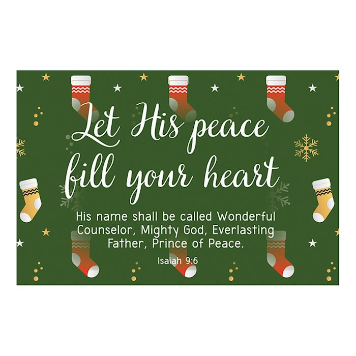 "Cards-Pass It On-Let His Peace Fill Your Heart (Stockings) (3"" x 2"") (Pack Of 25) 