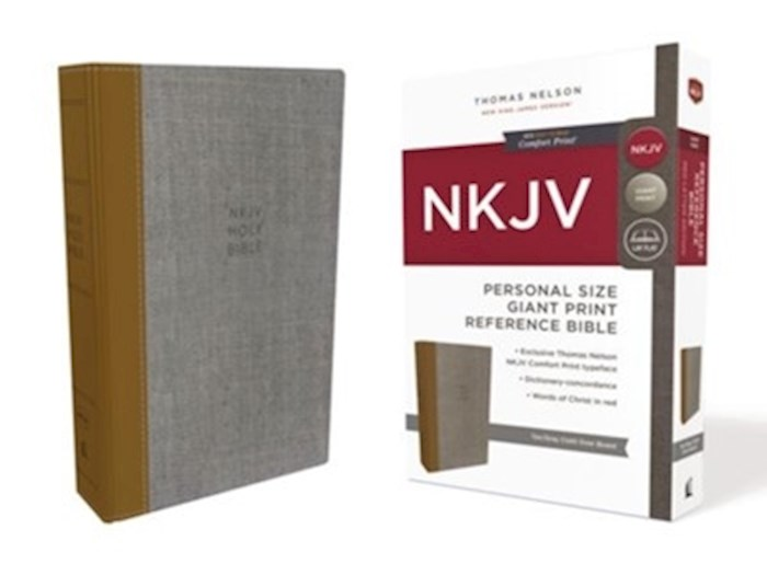 NKJV Personal Size Giant Print Reference Bible (Comfort Print)-Tan/Gray Cloth Over Board | SHOPtheWORD