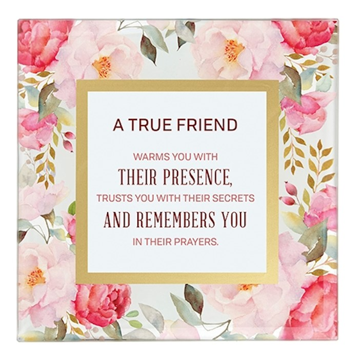 "Framed Art-Tabletop-True Friend (7"" x 7"") 