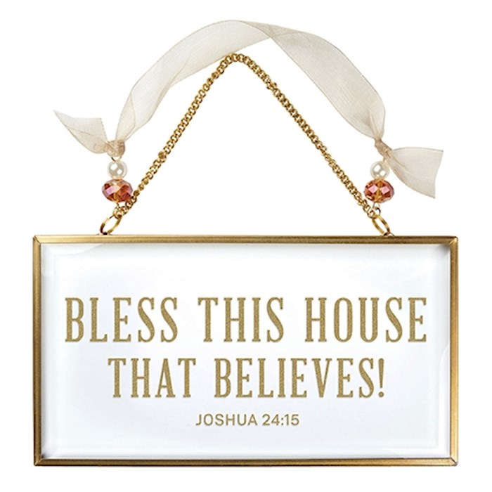 "Wall Art-Bless This House (Joshua 24:15) (Glass) (6.5"" X 3.5"")  
