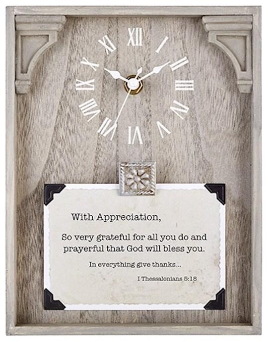 "Clock-Framed Tabletop-Appreciation (Thessalonians 5:18) (7"" x 9"") | SHOPtheWORD"