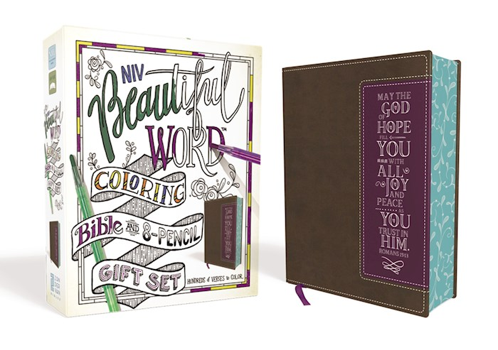 NIV Beautiful Word Coloring Bible And 8-Pencil Gift Set-Brown/Purple Leathersoft | SHOPtheWORD